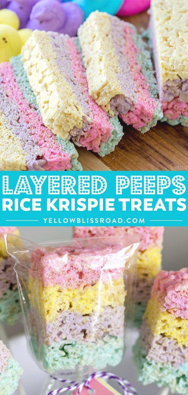 Layered Peeps Crispy Treats