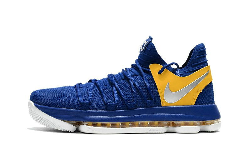 watch 856ef d89b9 How To Buy Nike KD 10 Golden State Warriors Blue Yellow White Basketball  Shoe For Sale