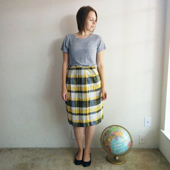 Vintage Yellow Plaid A-line Skirt by WildWhisperShop on Etsy