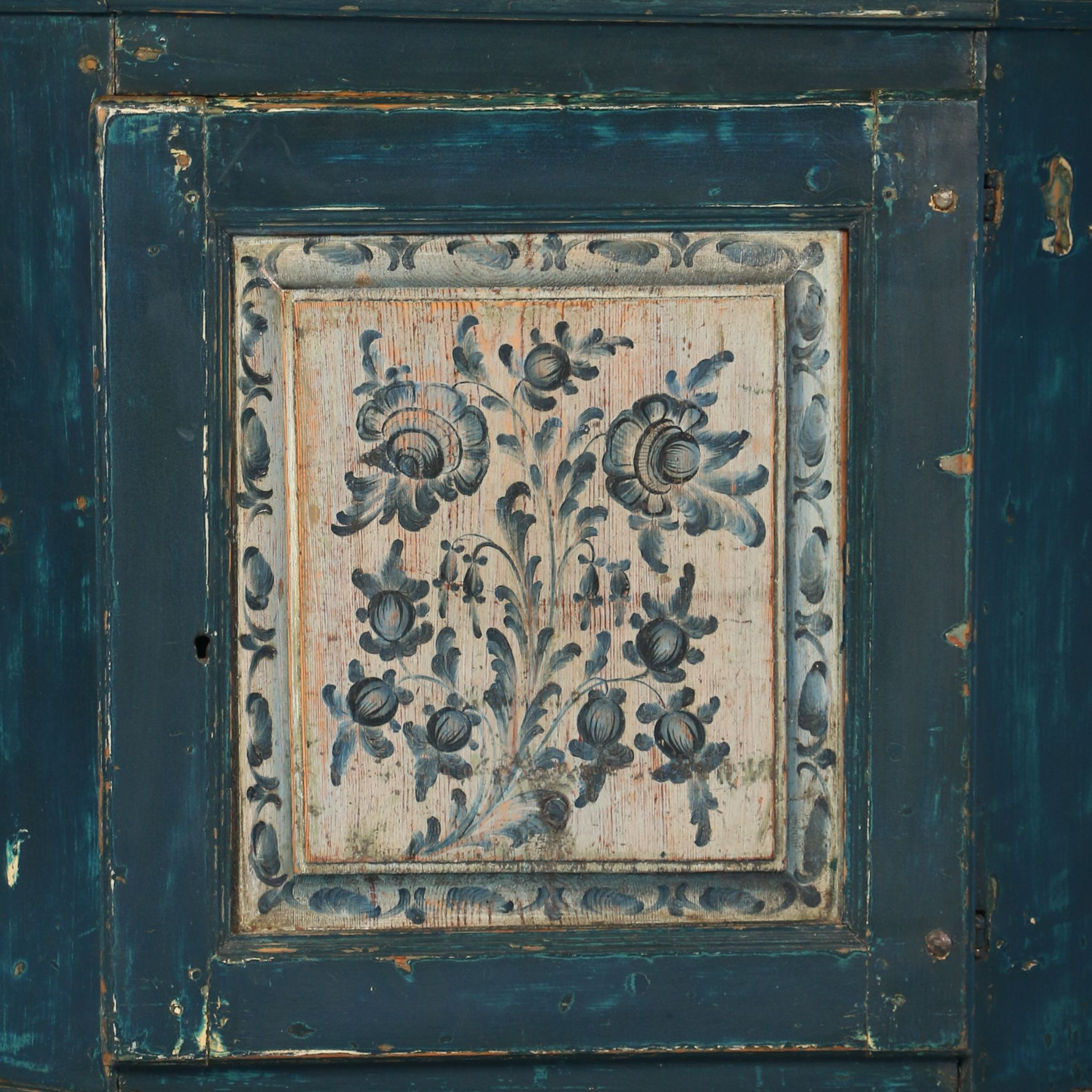 Antique remarkable original blue painted swedish cupboard dated
