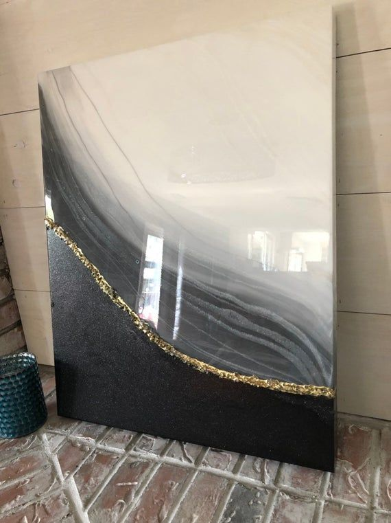 Original 24x30 resin art painting grey pearl white
