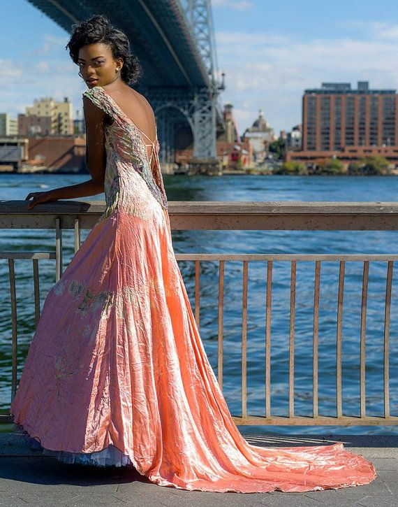 coral wedding dress with vintage lace and crinoline skirt perfect ...