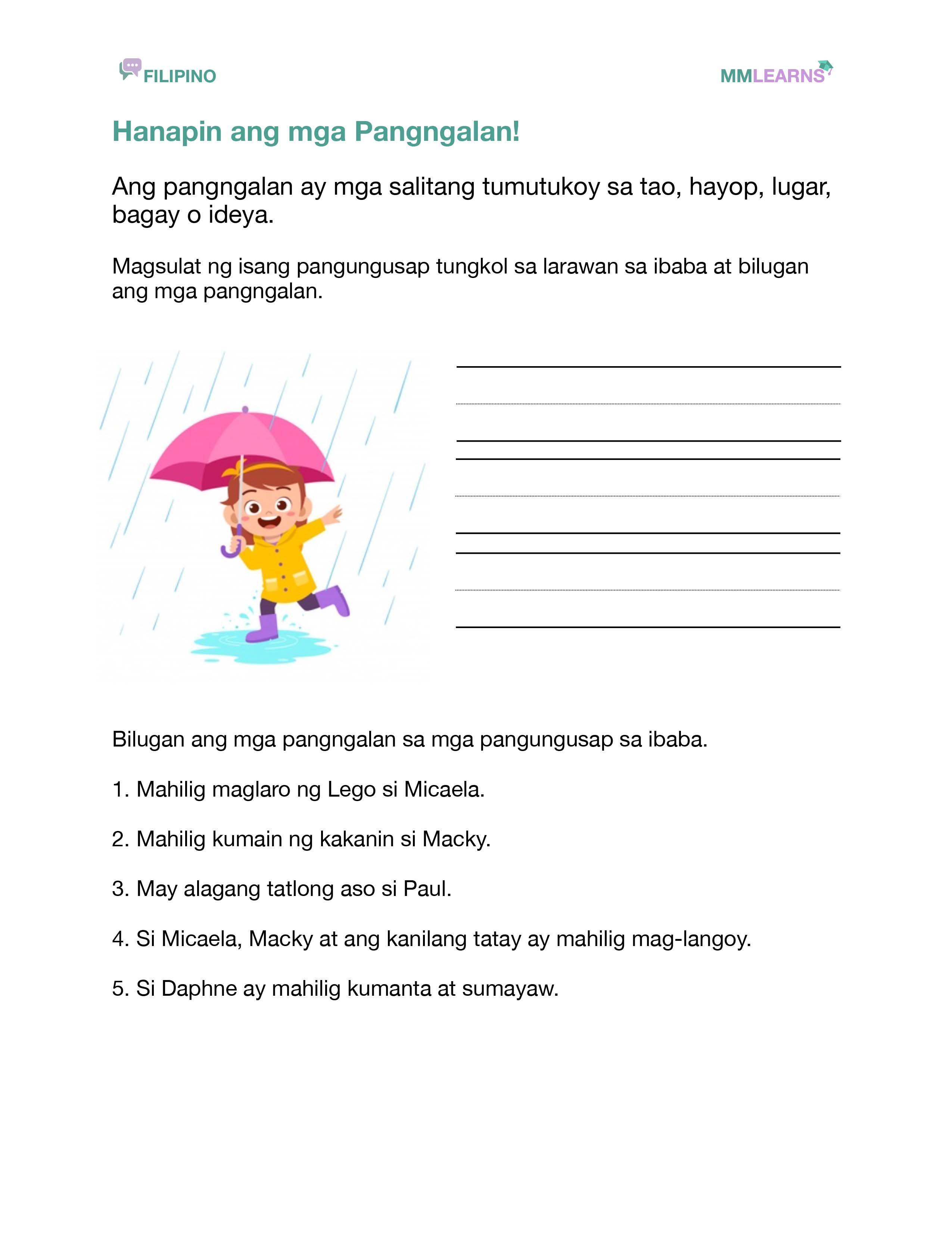 Pangngalang Worksheet 1 In