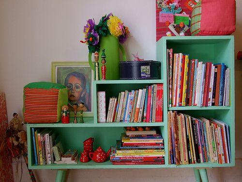 Kitschy Mint Colored Bookshelf Green Bookshelves Painted Bookshelves Colorful Bookshelf