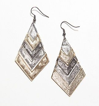 With Love From CA Tri Tone Metal Earrings - PacSun.com