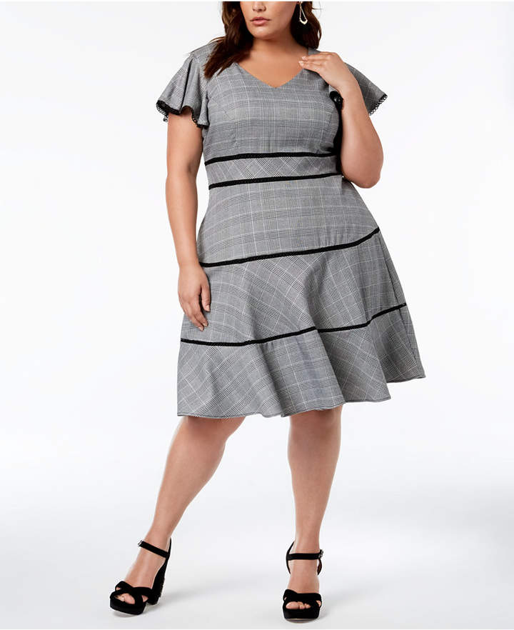 Plus Size Flutter-Sleeve Fit & Flare Dress | Products | Dresses ...