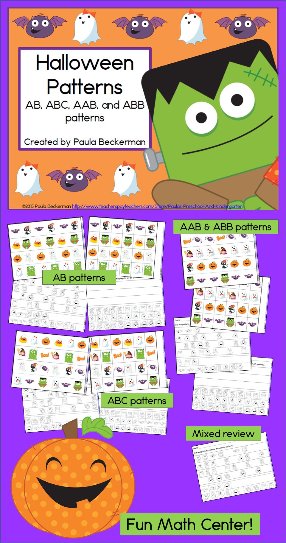 Halloween Math Center With Ab Abc Aab And Abb Patterns Halloween Math Centers Math Patterns Activities Halloween Math [ 1824 x 960 Pixel ]