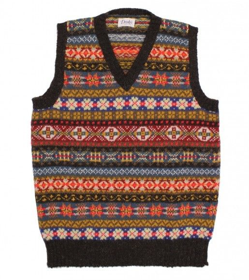 Sleeveless Shetland Wool Fairisle V Neck Pullover - Wool ...