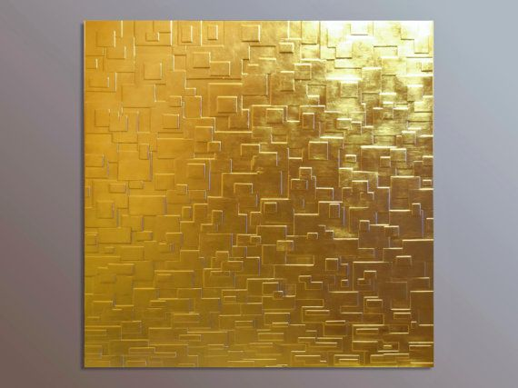 Large Gold Leaf Wall Panel - Gold Wall Sculpture - 3D Wall Art ...