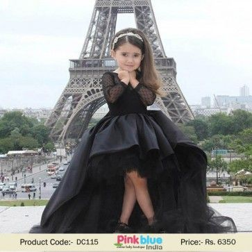 Vintage Couture Evening Prom Gown For Kids In Black Latest