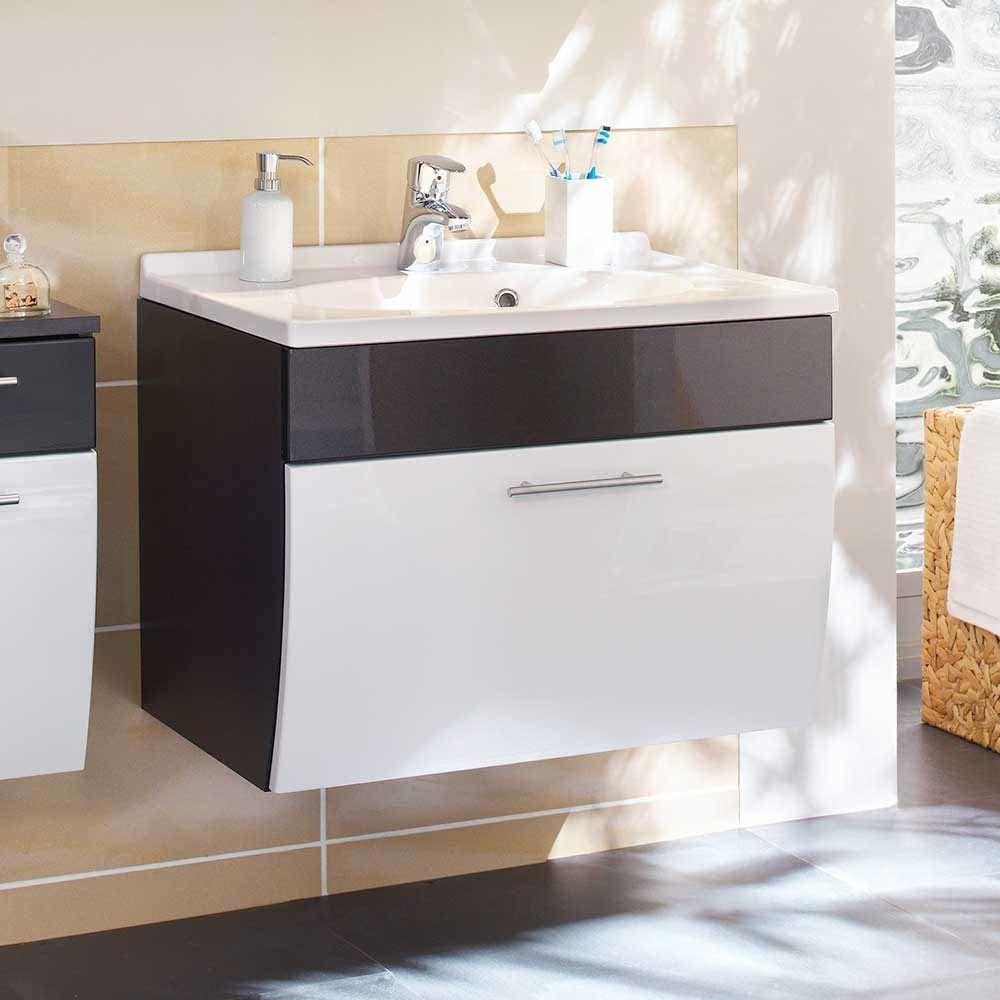 Badezimmer Waschbeckenschrank Mit Klappe Anthrazit Weiss Hochglanz