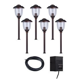 Portfolio 6 light bronze low voltage incandescent path lights portfolio 6 light bronze low voltage incandescent path lights landscape light kit transformer included mozeypictures Choice Image
