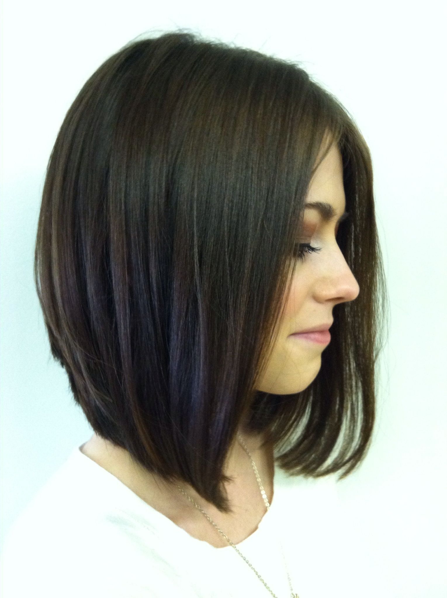 Long Angled Stacked Bob Love My Haircut Thin Hair Haircuts Hair Styles Medium Hair Styles