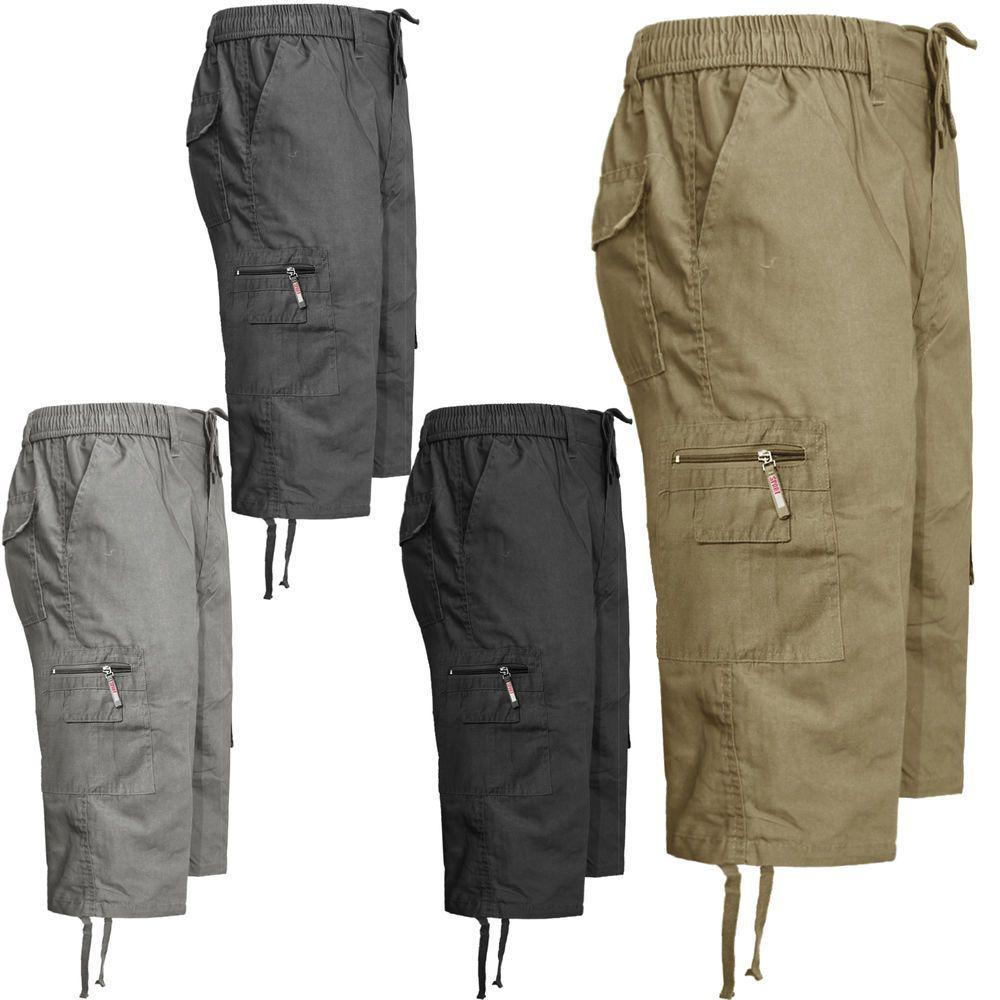 Herren 3/4 Gummizug Cargo Sommer Combat 6 Taschen Shorts Hose ...