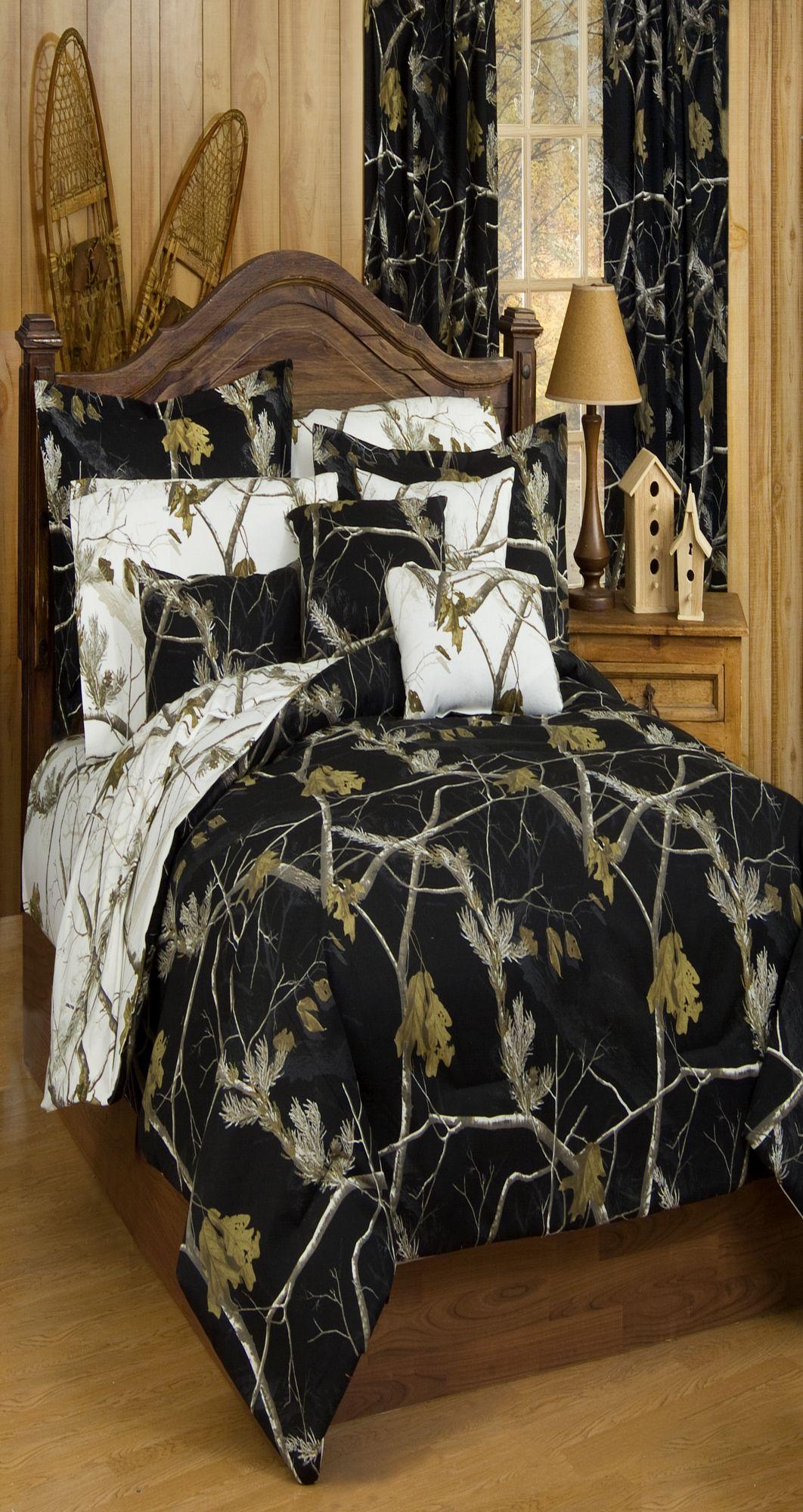 King Realtree AP Black Comforter//Sham Set
