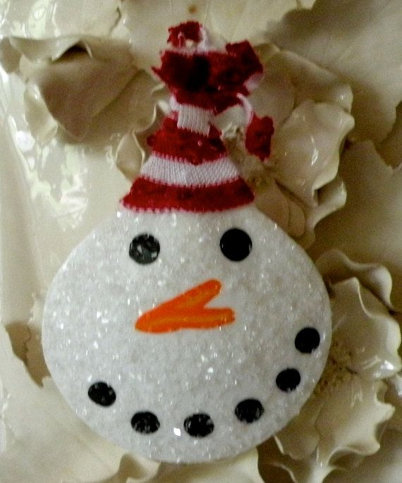 Snowman Ornament on Seashell by OceanBlooms on Etsy, $4.75