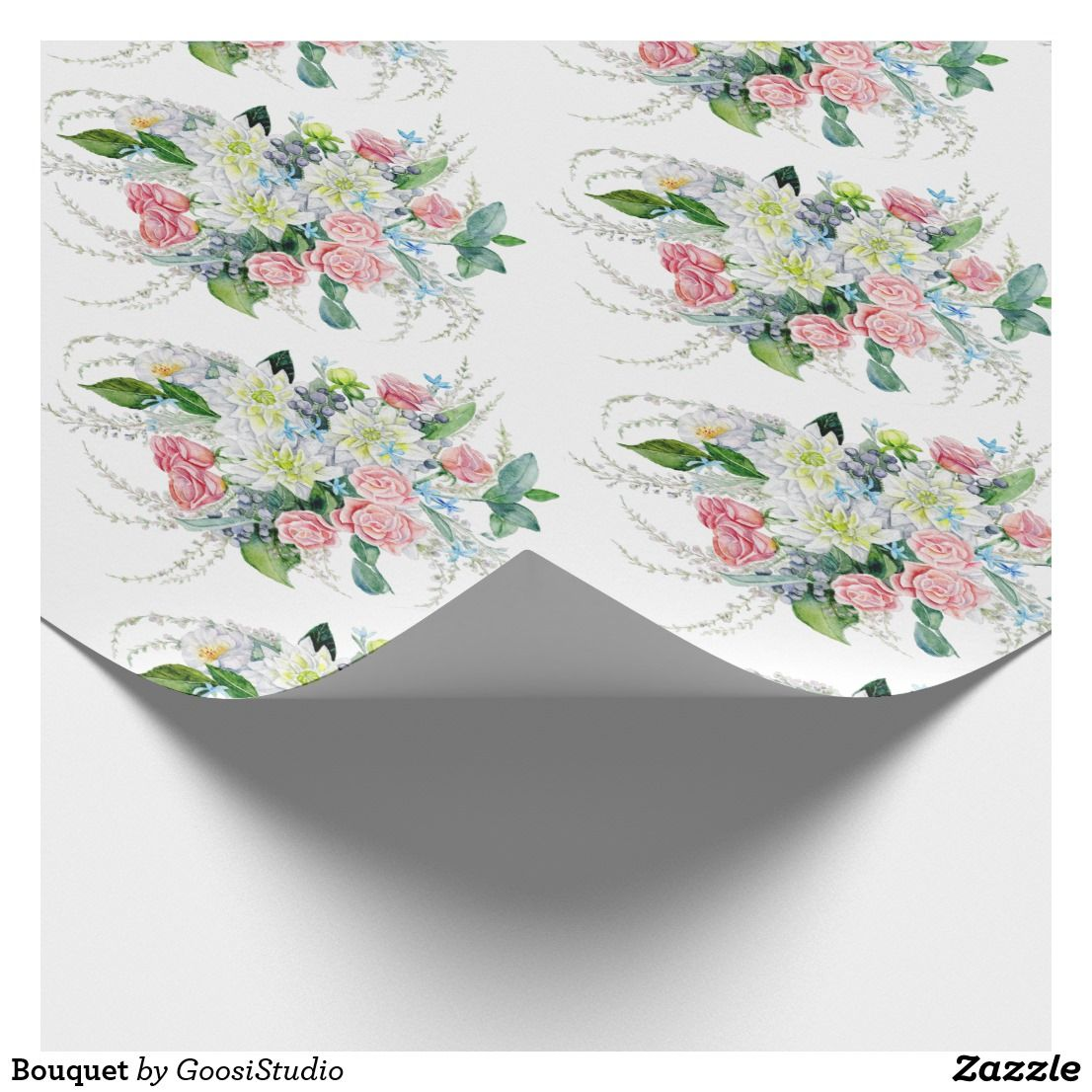 Bouquet wrapping paper with images