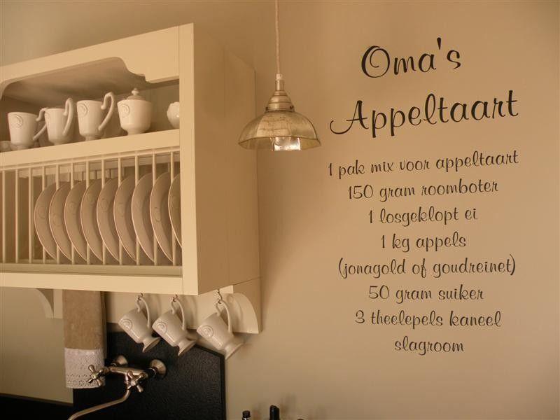 Prachtige keuken en appeltaart tekst op de muur! furniture and