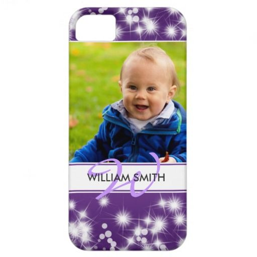 Custom Photo & Monogram Winter Sparkle Purple iPhone 5 Cover   $44.95