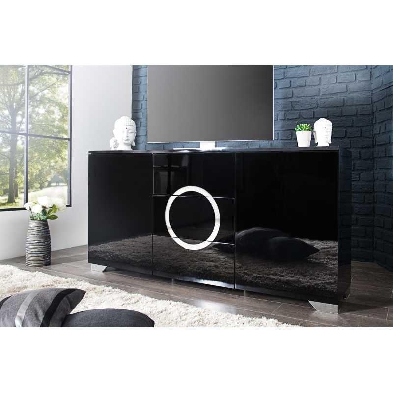 Meuble TV design avec espace rangement coloris noir Meuble TV