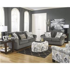 Signature Design By Ashley Makonnen   Charcoal Queen Sofa Sleeper With  Large Rolled Arms And 2 Seat Cushions   Lapeer Furniture U0026 Mattress C.