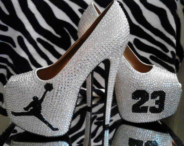 Shine Girl Love Jordans Heels Boy Black And White 23 Shoes