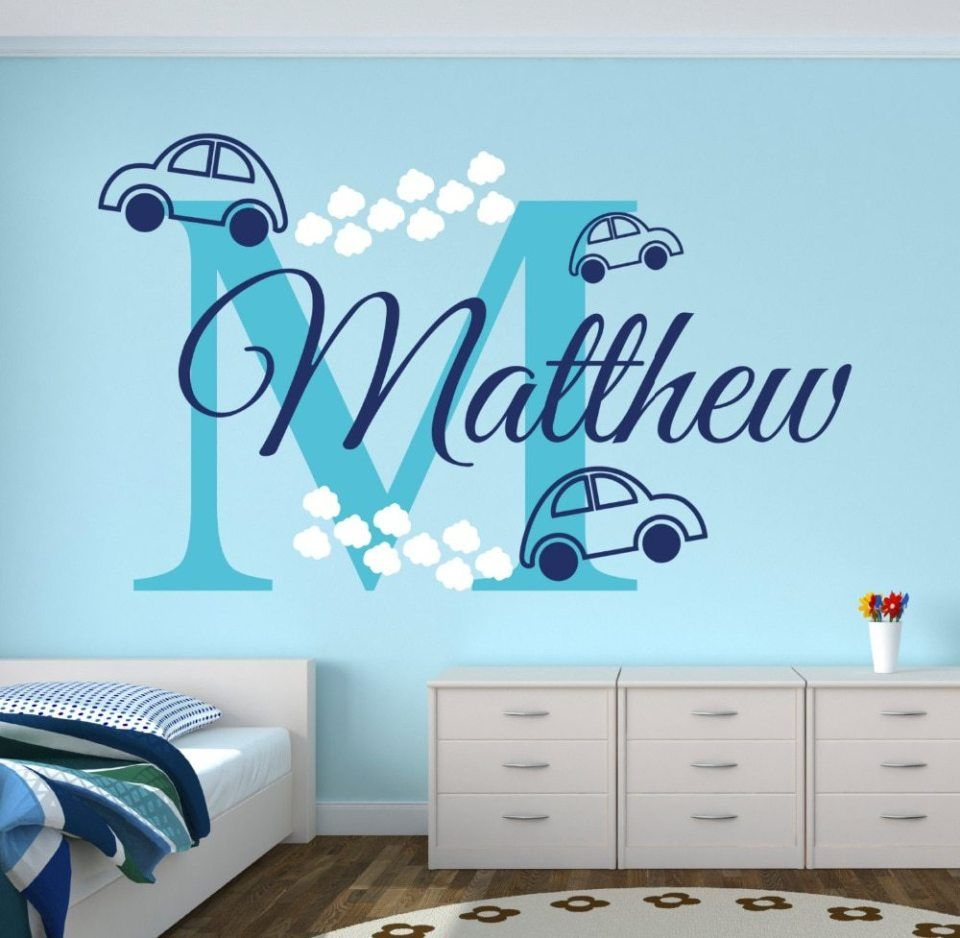 personalized name cars wall stickers for boy s bedroom on wall stickers for kids id=23581