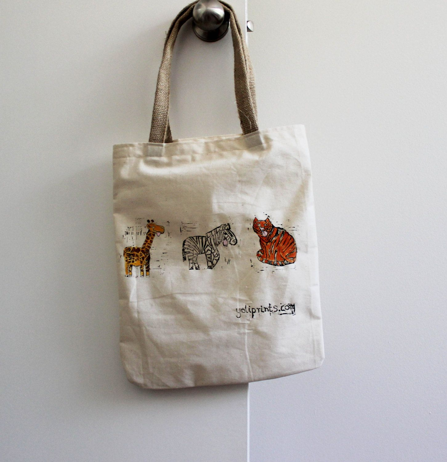 e8fb2b0afe Zoo animal tote bag by Yoliprints on Etsy