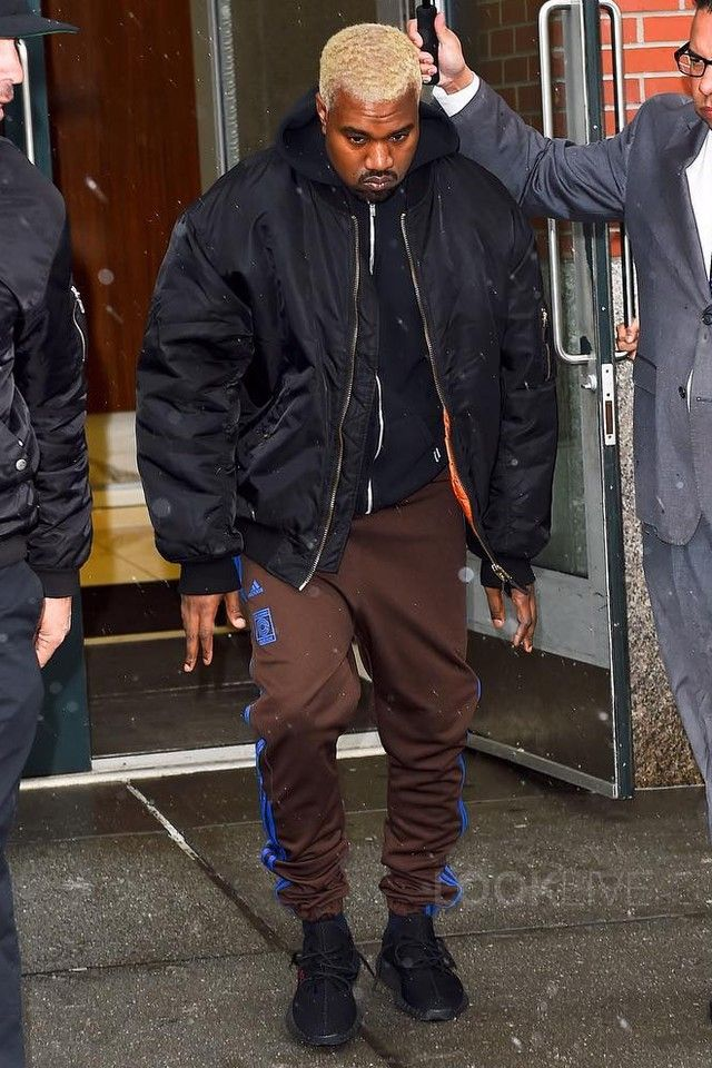 Kanye West - Heads out of his apartment on. Calabasas AdidasCalabasas ...