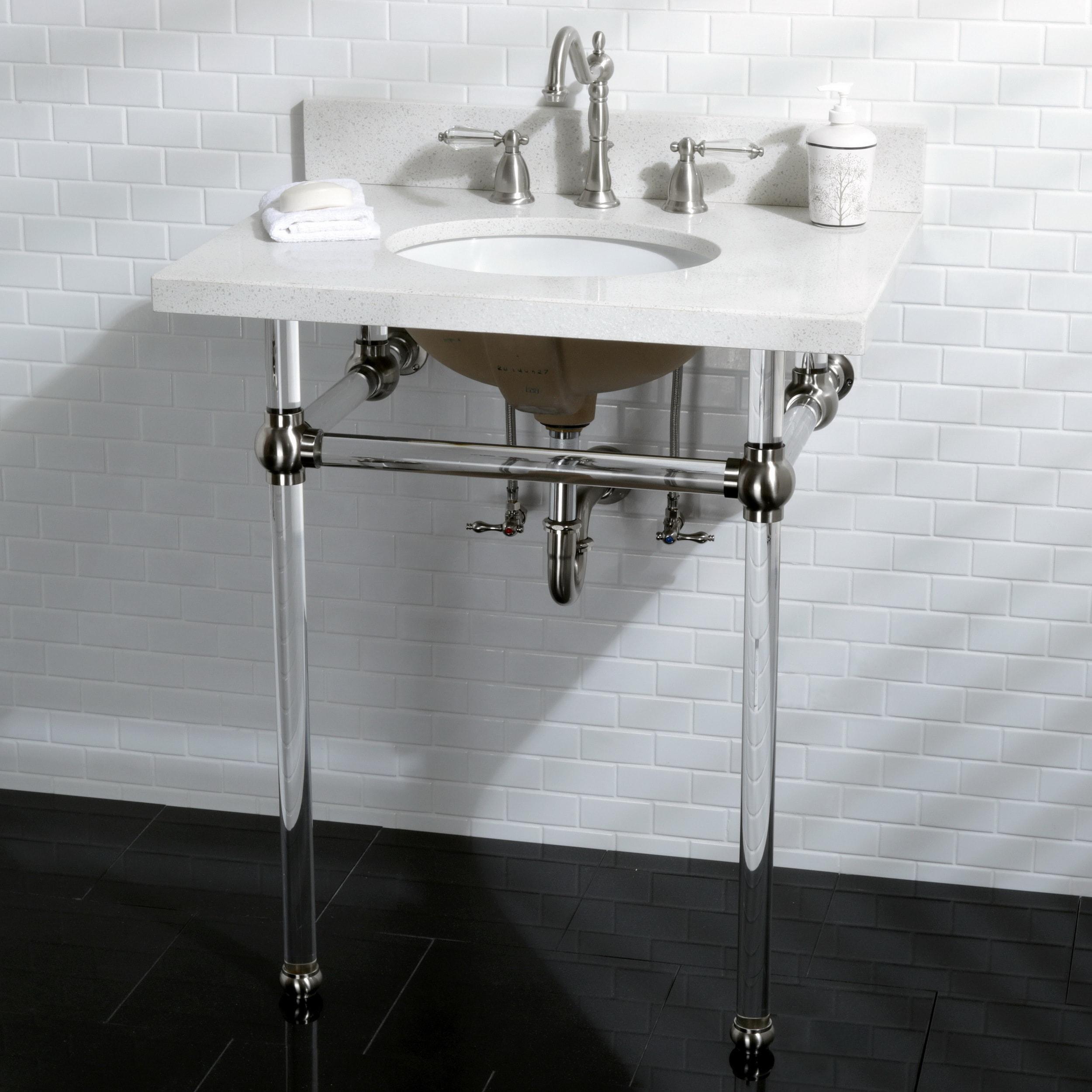 White Quartz 30 Inch Wall Mount Pedestal Bathroom Sink Vanity With