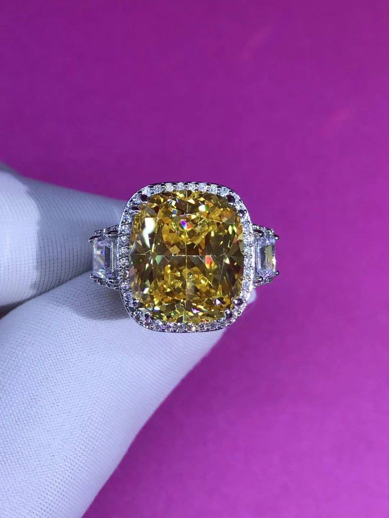 8ct yellow sapphire luxury emerald cut engagement ring gift for her anniversary ring promise ring wedding ring