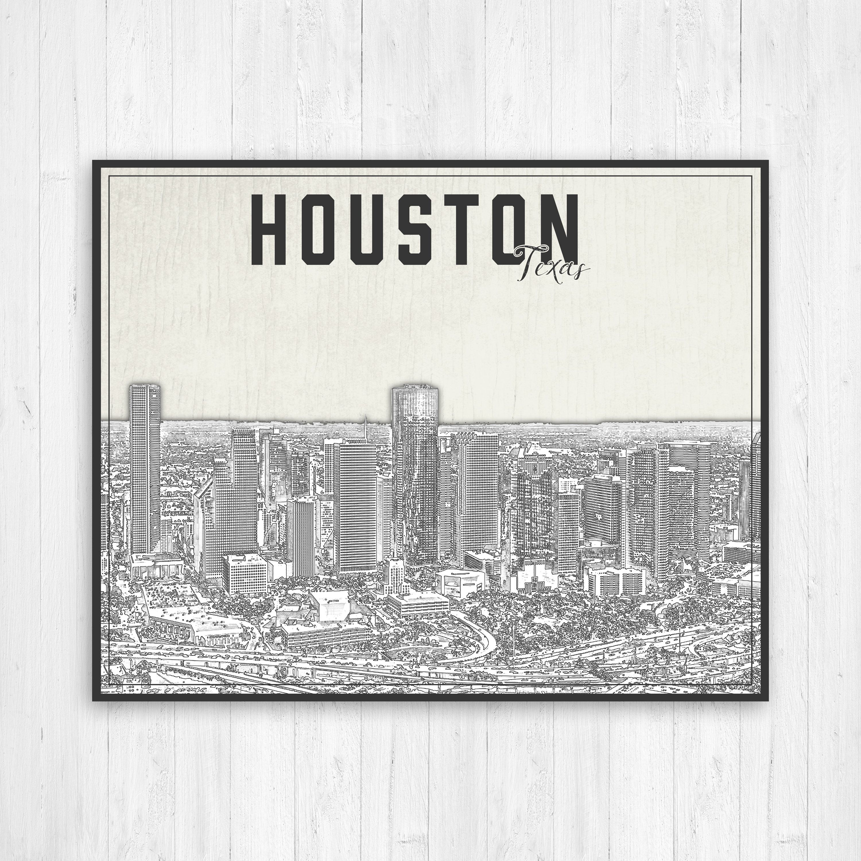 Houston Texas Illustration City Print Houston Texas Print Black And White Print Of Houston Texas Houston Texas Cityscape Canvas Houston City Illustration Black White Illustration Illustration