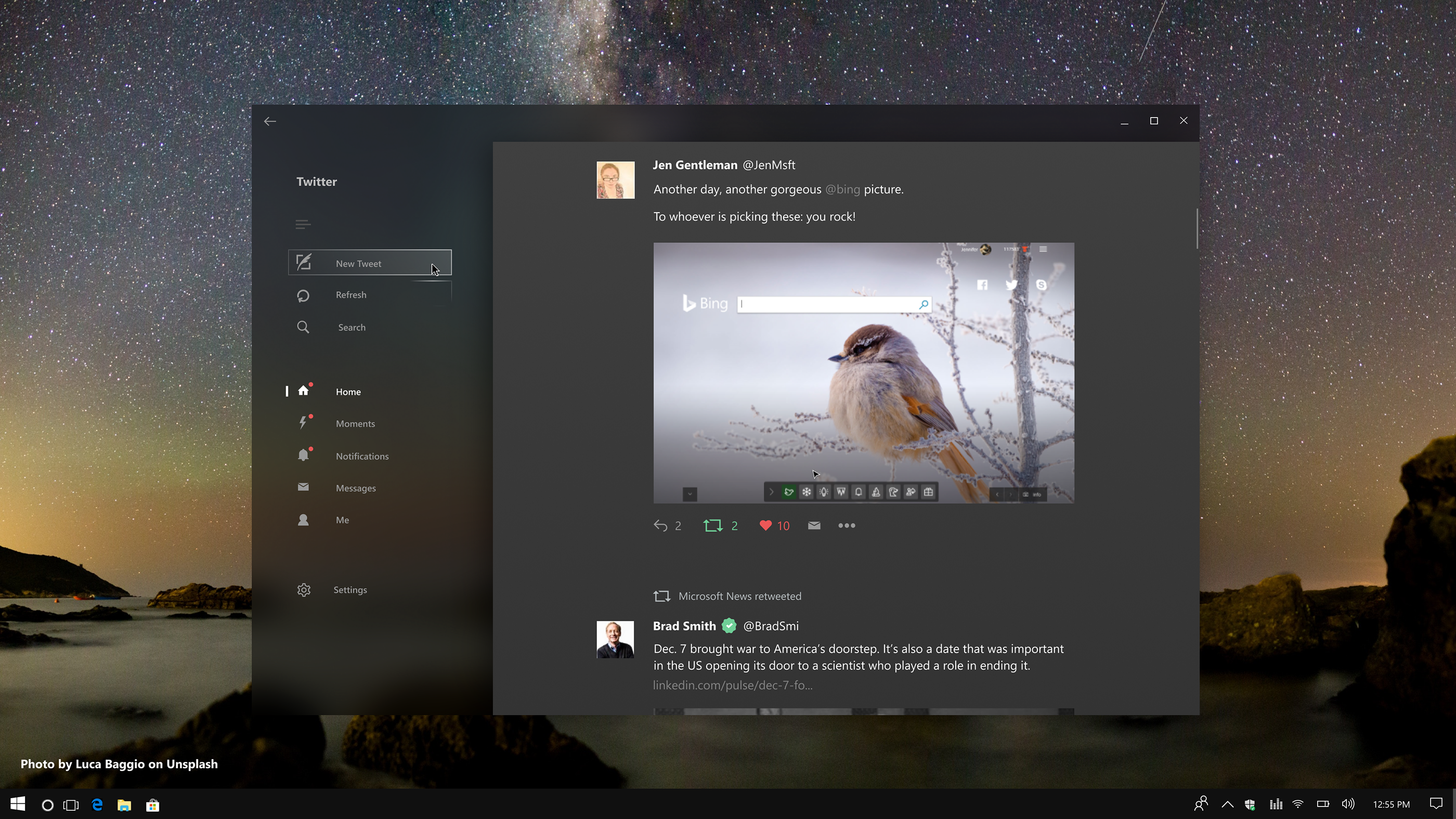 Windows 10 Fluent Design Twitter App Concept on Behance | fluent