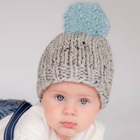 f23c27712fb Chunky Grey Handmade Knit Beanie with Light Blue Pom Pom Baby Boy Hat Baby  Boy Beanies
