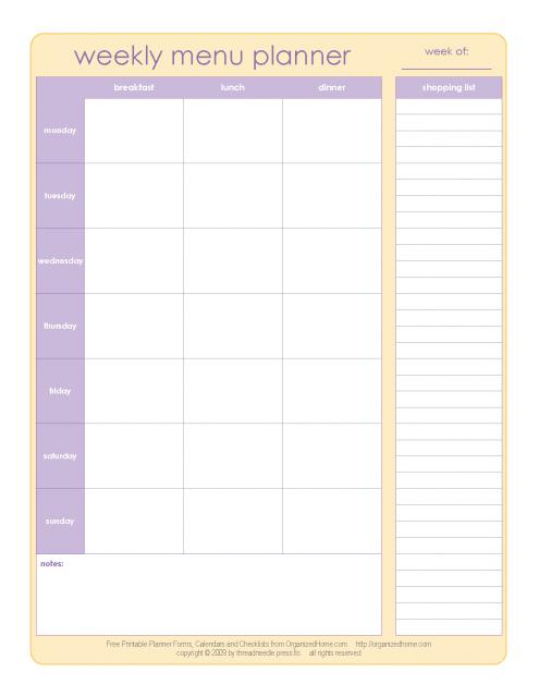 Free Menu Planner Printables  Menu Planners Weekly Menu
