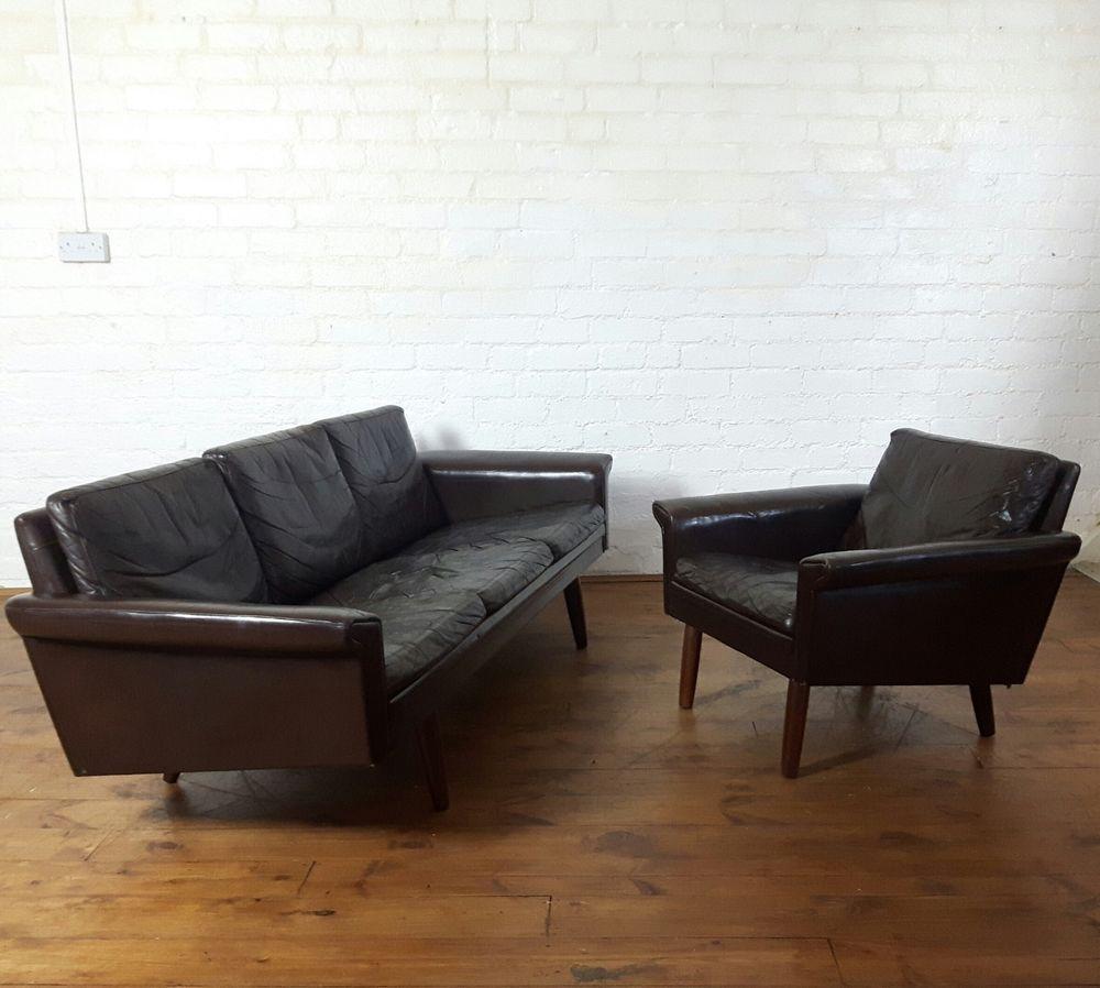 Stunning Vtg Mid Century 60s Danish Leather Sofa And Arm Chair Retro Ebay