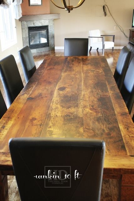 10 Ft Reclaimed Wood Harvest Table With Black Leather Parsons Chair Blog