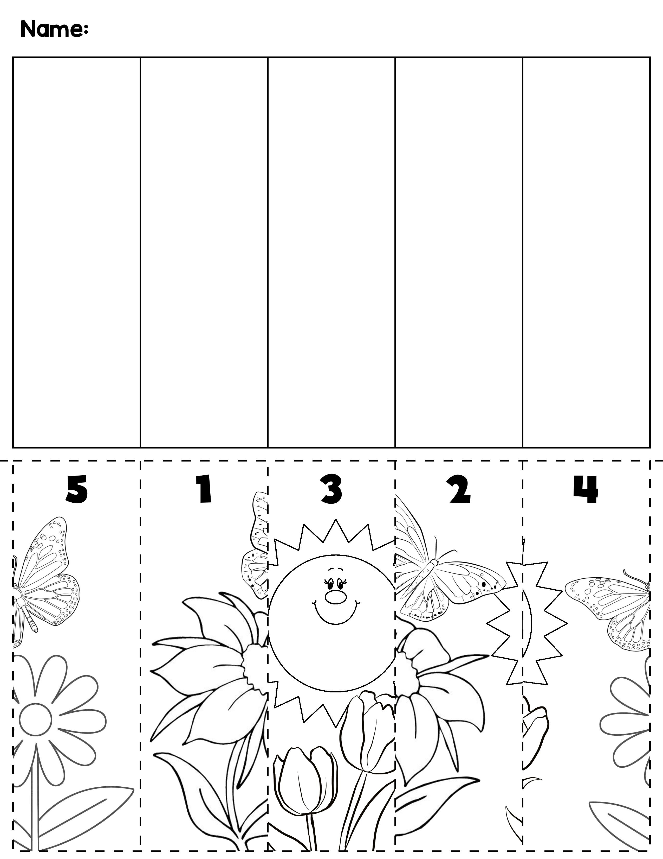 Spring Number Order Cut & Paste Scene   All Kindergarten @TpT ...