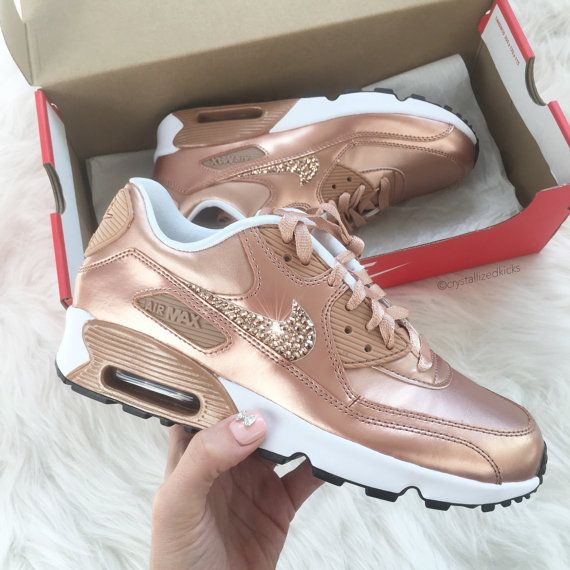 cheap for discount e05a7 c71ee Womens AIR MAX 90 Sneakers Made with SWAROVSKI® Crystals PRODUCT  859633  900 SELECTED STYLE  METALLIC ROSE GOLD WHITE   Width - B - Medium CRYSTAL  COLOR  ...