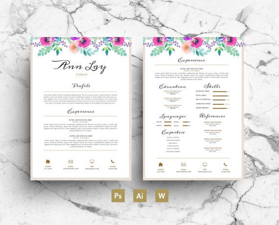 Ann Lay Digital Template - Flowers - Résumé - Business card - psd letterhead template