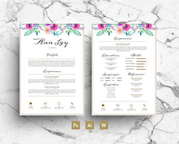 Ann Lay Digital Template Flowers Rsum Business card Cover