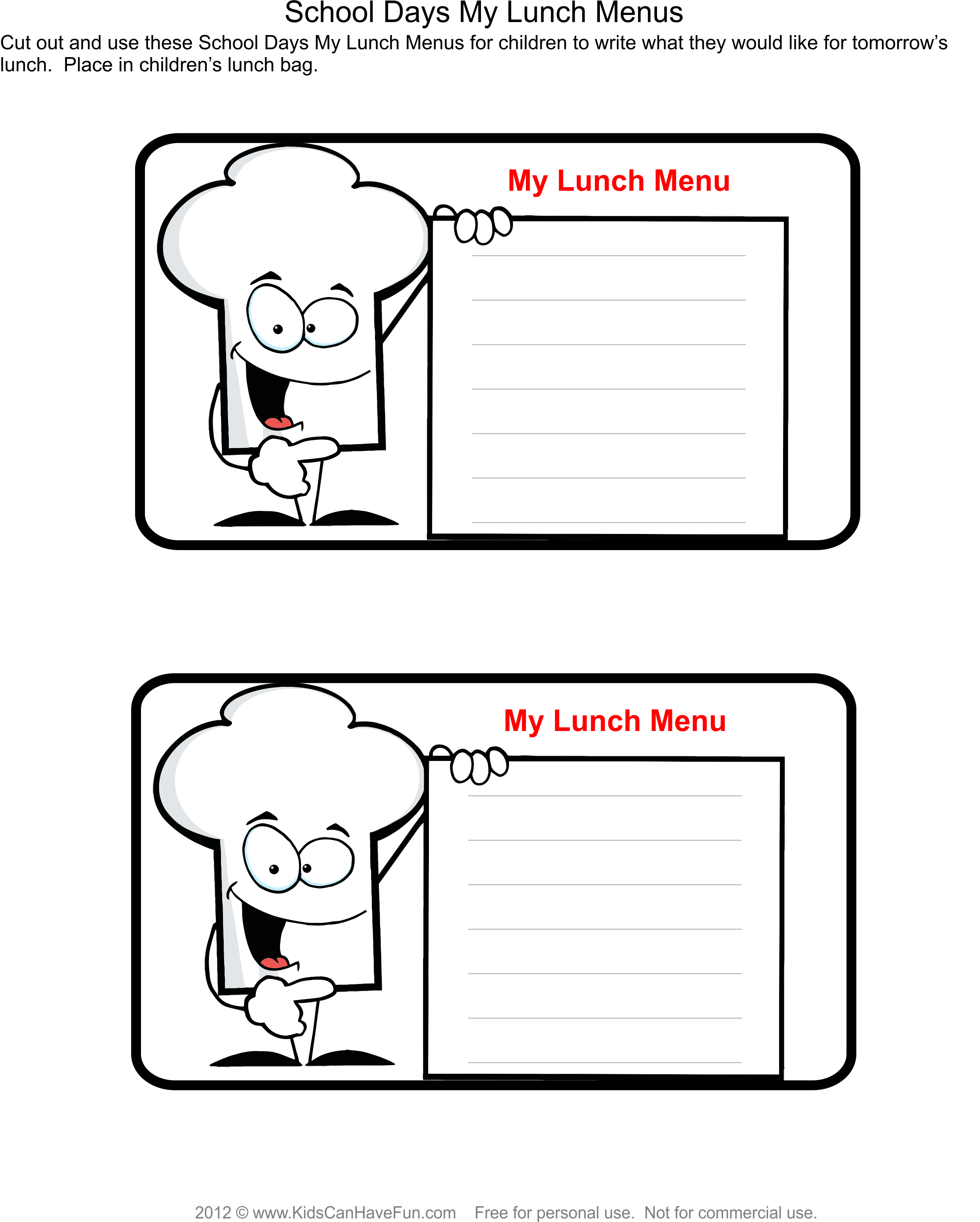 Place My Lunch Menu In Lunch Bag Kids Write Down What