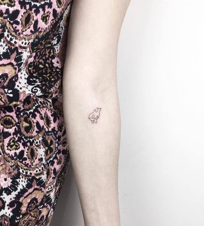 Tiny Minimalist Orca Tattoo By Cagridurmaz