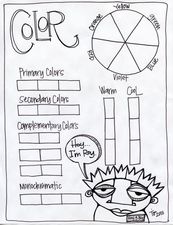 Color Theory Worksheet (featuring Roy G. BIV printout art lesson ...