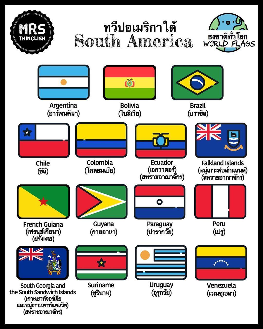 World Flags South America ธงชาต ท วโลก ทว ปอเมร กาใต Mrsthinglish English อ งกฤษ ภาษาอ งกฤษ Learnenglish เร คำศ พท ภาษาอ งกฤษ เร ยนภาษาอ งกฤษ ภาษา