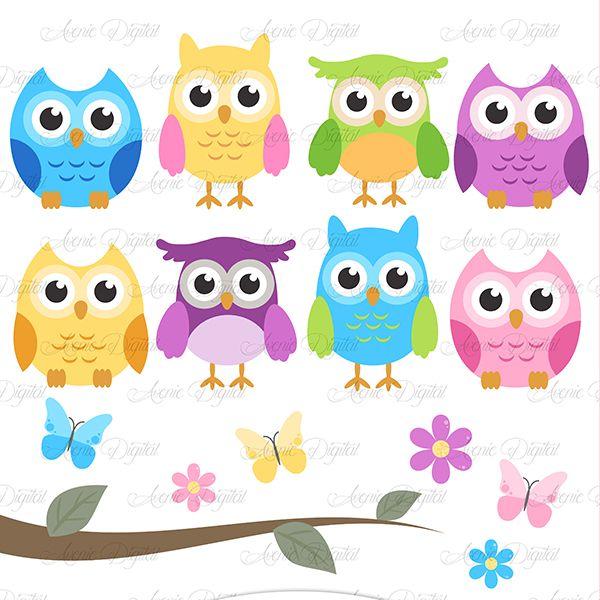 Cute Colorful Owl Clipart Owl Clip Art Cute Birds Baby Clip Art