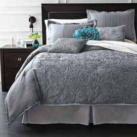 amusing grey teal bedroom | 'Grace' 7-piece gray and teal Comforter Set from Sears ...