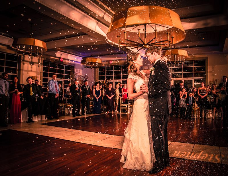 DJ Provided Snow Machine For Indoor Snowfall During First Dance Wedding