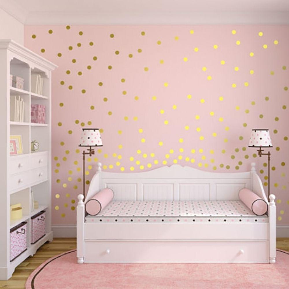 Polka Dot Wall Stickers Home Fuel Polka Dot Wall Decor Girl Room Gold Wall Decals