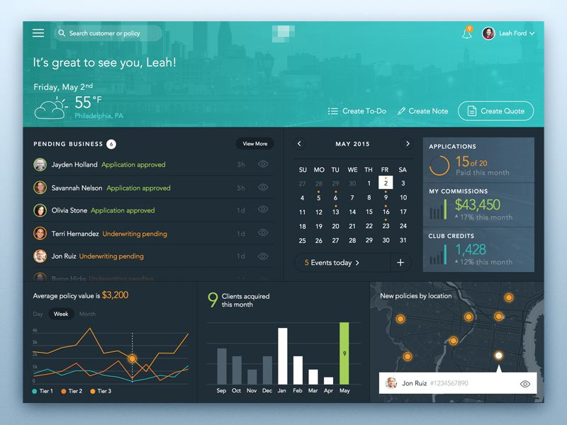 Insurance Agent Dashboard Dashboard Design Dashboard Interface
